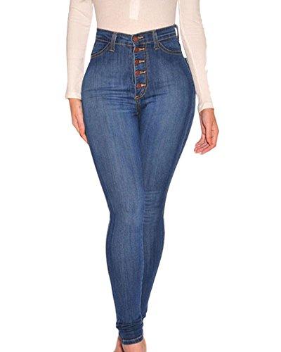Femme Jeans  Taille Haute lastique Collant Leggings Slim Crayon Pantalon Bleu Clair