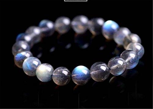 LABRADORITE Bracelet 10 mm Rare Deluxe Big Beads Blue FLASHING LABRADORITE Crystal Goddess Fashion LOOSE GEMSTONES 10 ()