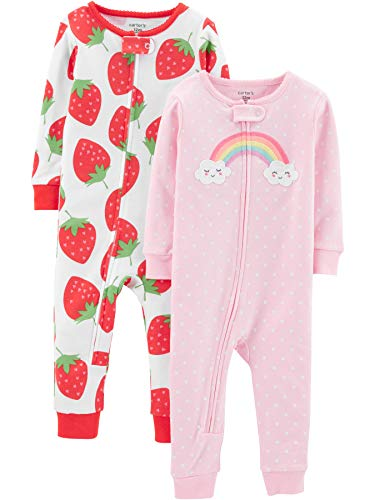 Carter's Girls' Toddler 2-Pack Cotton Footless Pajamas, Strawberry/Rainbow 3T