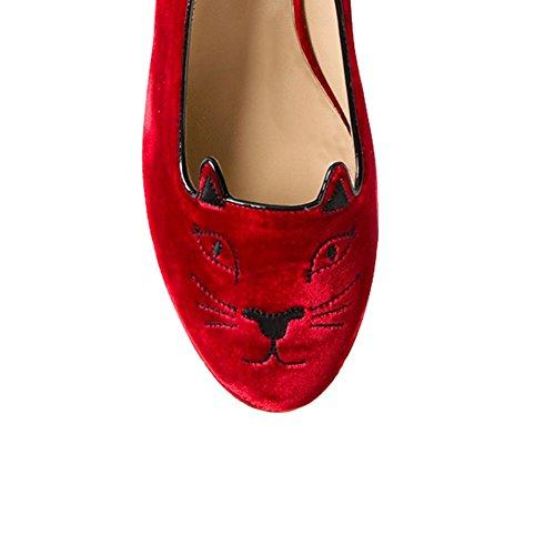 EKS - Zapatos de Tacón Mujer Rojo