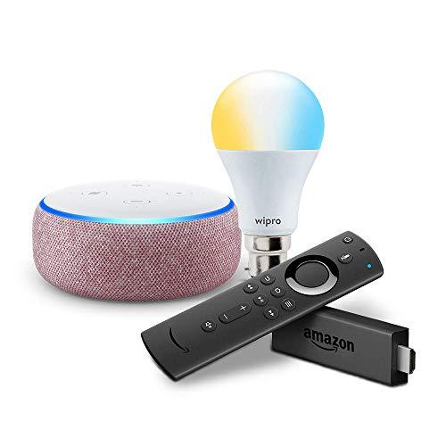 Echo Dot (Purple) bundle with Fire TV Stick and Wipro 9W smart white bulb