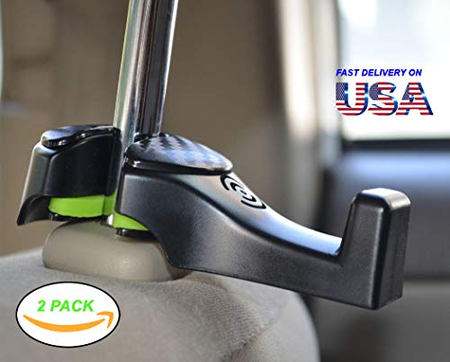 i-SMART Car Headrest Hook, Universal Car Hooks - Hang Purse or Grocery Bags - Car Hanger Hook, Car Headrest Holder with Lock - Black..  (set of 2).! (Hook Functional)