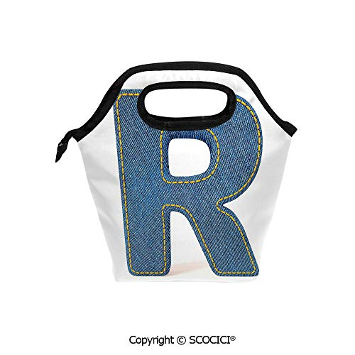 Reusable Printed Design Lunch Bag Retro Denim Style Alphabet Font Pattern with Capital R Letter Blue Jean Design Decorative Lunch Tote bag for Work and - Pattern Soup Alphabet
