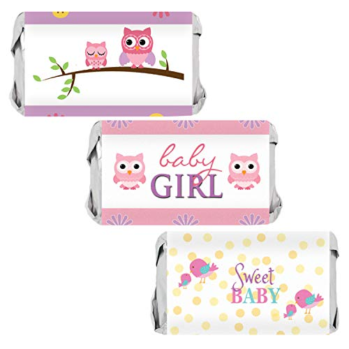 Owl Tweet Pink Woodland Girl Baby Shower Mini Candy Bar Wrappers | 54 Stickers ()