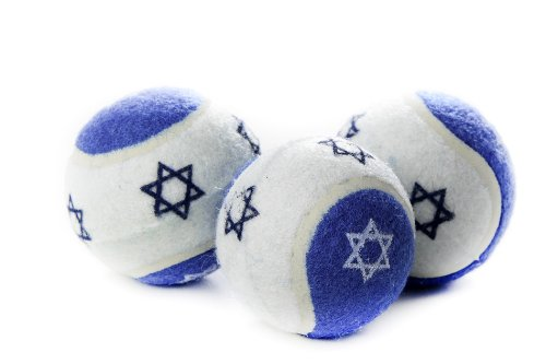 Copa Judaica 2.5-Inch Diameter Tennis Balls with a Blue Star in The Middle for Dogs and Cats, Blue and White