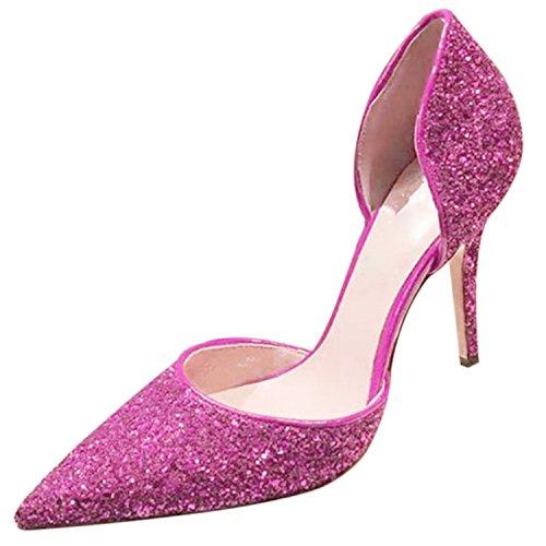 Azbro Mujer Zapato de Tacón Bomba Alto Slip-on con Lentejuelas Rosa