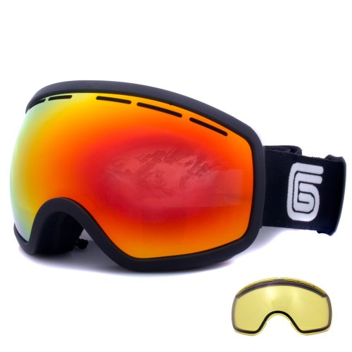 Grayne Blackout MTN Ski Snowboard Goggles with Pyro Anti-Fog Lens and Extra Yellow Low-Light Lens by Grayne