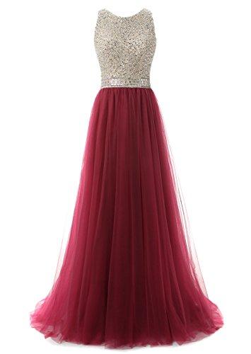 Claro Callmelady para Vestidos de Borgoña Vestidos Noche Alto de Largos Cuello Mujer Elegantes Fiesta OwEqr0vOx