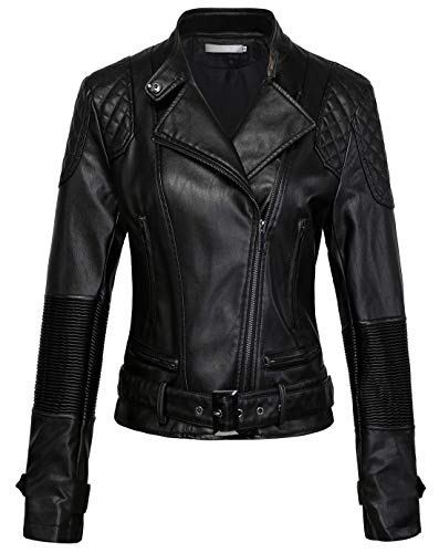 chouyatou Women's Band Collar Oblique Zip Wrinkle Performace Moto Faux Leather Biker Jacket (Medium, Black)
