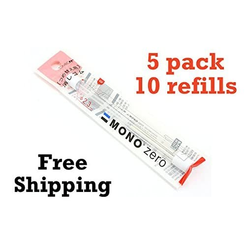 5-packs Tombow MONO Zero Eraser Refill, Round Tip (57307) 5-packs