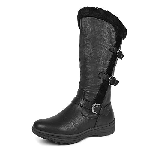 DREAM PAIRS Women's Minx Fully Faux Fur Lined Triple Buckle Ruched Snow Knee High Winter Boots Black PU Size 10 Wide Calf