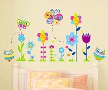 HALLOBO® Wandtattoo Eulen Schmetterlinge Blumen Wandaufkleber ...