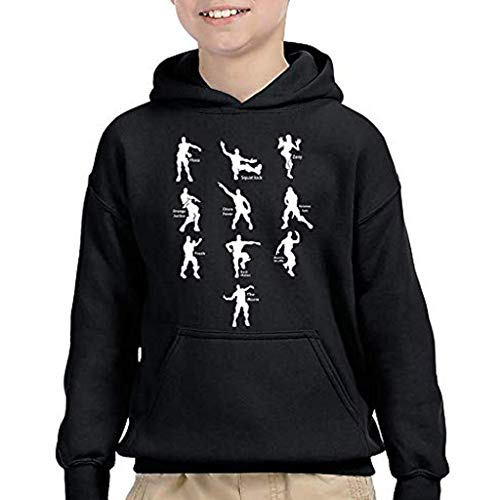 - Mayunn Funny Emote Dances Dance Moves Floss Boys Girls Youth Hooded Sweatshirt Hoodie Pullover Tops T-Shirt (Black, M)