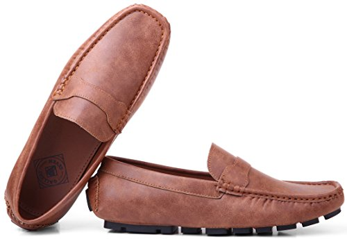Gallery Seven Driving Shoes for Men - Casual Moccasin Loafers - Luggage Brown - US-8D(M)|UK-7.5|EU-42 ()