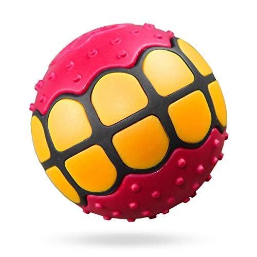 (Dawg Grillz Dog Balls Toys - Squeaky Fetch Rubber Funny Ball Gifts for Large Medium Dogs (Pink Yellow))