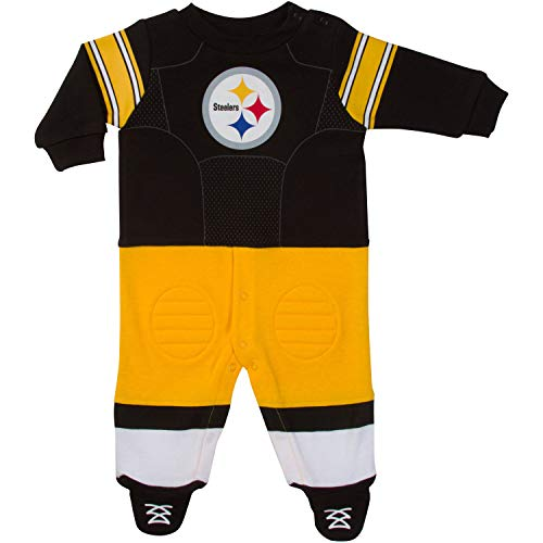 NFL Pittsburgh Steelers Unisex-Baby Footysuit Coverall, Black, 3-6 Months