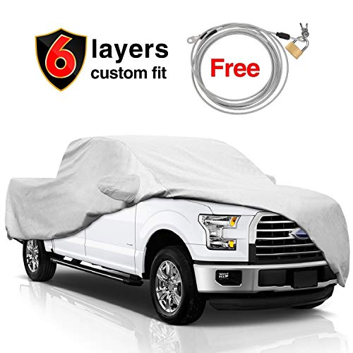KAKIT F150 Truck Cover for Ford F150 2001-2017, 6 Layers All Weather Waterproof, Windproof Dustproof Scratch Proof F150 Car Cover for Summer Outdoor, Free Windproof Ribbon