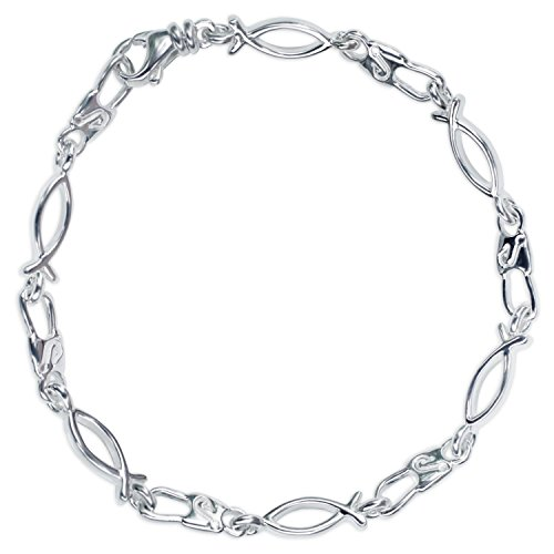 Fish Ichthus Bracelet - Denali Designs Emmaus Ichthus Youth Ladies Small Link Snap and Fish Bracelet, Sterling Silver, 7.75
