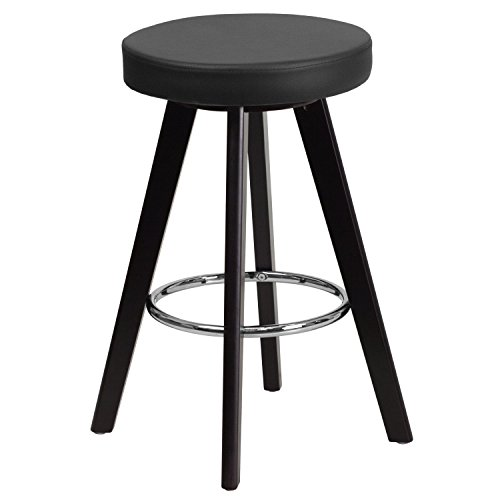 UPC 889142045304, Flash Furniture CH-152600-BK-VY-GG Trenton Series High Contemporary Black Vinyl Counter Height Stool with Cappuccino Wood Frame, 24""