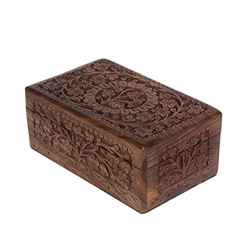 Carved Floral Box - Artisans Of India xotic Hand Carved Wooden Keepsake Jewelry Trinket Box Storage Organizer with Floral Patterns & Velvet Interior