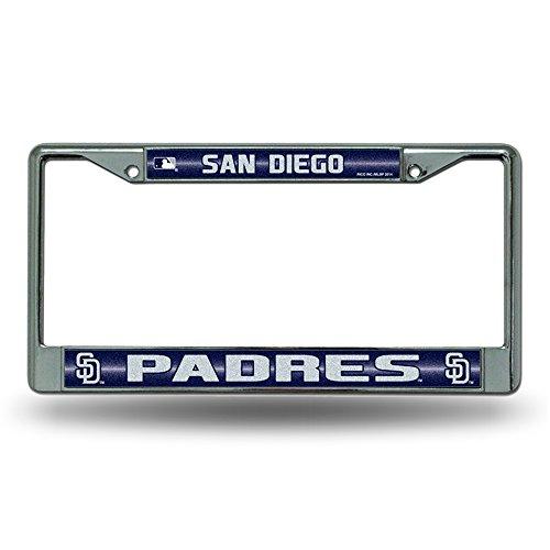 MLB San Diego Padres Bling License Plate Frame, Chrome, 12 x