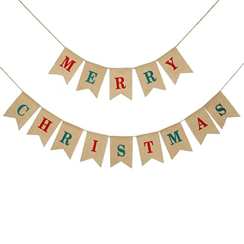 2 IN 1 Merry Christmas Banner Burlap ,Konsait Christmas Party Bunting Banner Garland for Fireplace Picture Outdoor Indoor Decorations,Xmas Home Photo Prop Party Decor Favors Supplies (Banner Christmas Merry Photo)