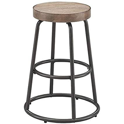 Amazoncom Bowery Hill 25 Backless Counter Stool In Dark Grey