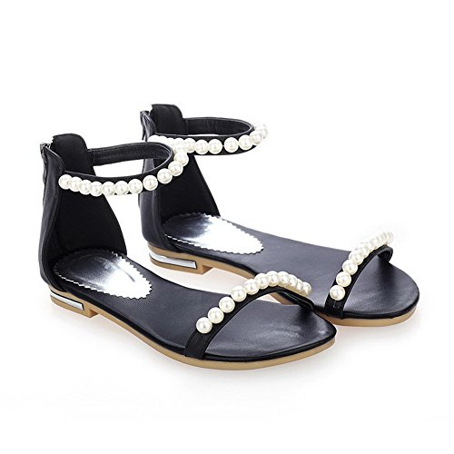 AmoonyFashion Womens Cow Leather Low-heels Open-Toe Studded Buckle Sandals Black Y4GUFk5AG