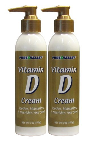 Pure Valley Vitamin D Cream Set of 2 - Moisturize & Nourishes & Hydrates Skin. Prevent Dry Skin and Wrinkles. Two 6oz Bottles with Pump.