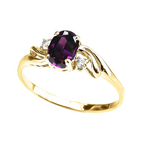 (Exquisite 10k Yellow Gold Oval-Shaped Amethyst with White Topaz 3-Stone Proposal Ring (Size 7))