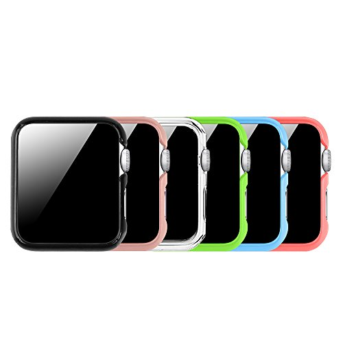 [6 Color Pack] Fintie for Apple Watch Case 42mm, Slim Lightweight Polycarbonate Hard Protective Bumper Cover for All Versions 42mm iWatch Series 3 (2017), Series 2 1 Sport & Edition - Multi Color A