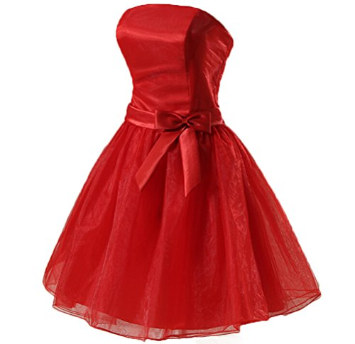 CCHAPPINESS Women's Knee Length Strapless Party Cocktail Prom Bridesmaid Dresses Red L