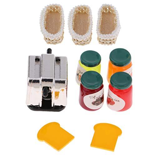 NATFUR Toast Bread Maker Jam 3pcs Bamboo Basket Kit for 1/12 Dollhouse Decoration