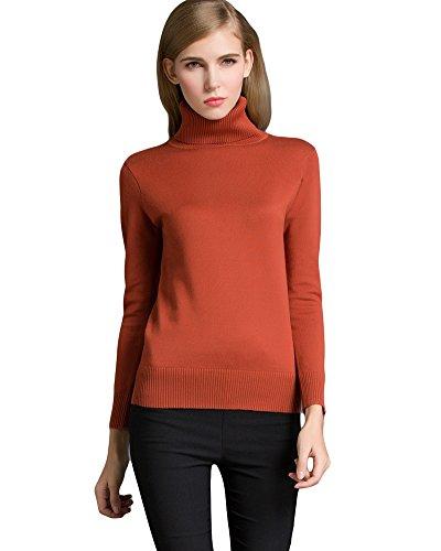 Romacci Women's Stretch Knit Top Sweater Turtleneck Long Sleeve Knitwear Pullover