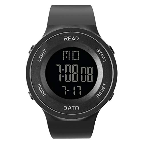 READ Sports Digital Watch for Men Women, Outdoor Military Watches with Alarm, Stopwatch, Calendar, LED Display and Shockproof R90003 (Black)