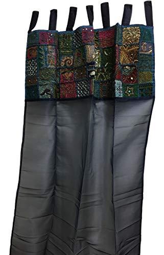 Handmade Indian Vintage Patchwork Sheer Organza Art Window Door Curtain Drape Tab Top Panel (Navy Blue) ()
