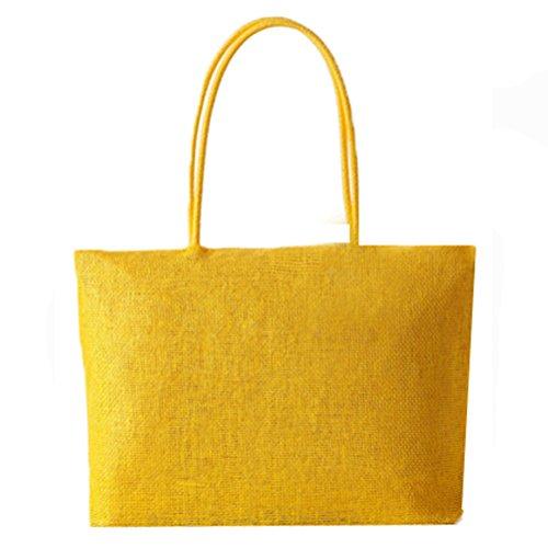 Abuyall femmes raphia sac de paille solide armure ¨¦t¨¦ plage occasionnels grand sac ¨¤ main ¨¦paule ensemble/unique Pt8