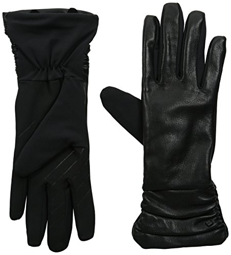 U|R Women's Ruched Leather Stretch Glove, Black, Large/X-Large