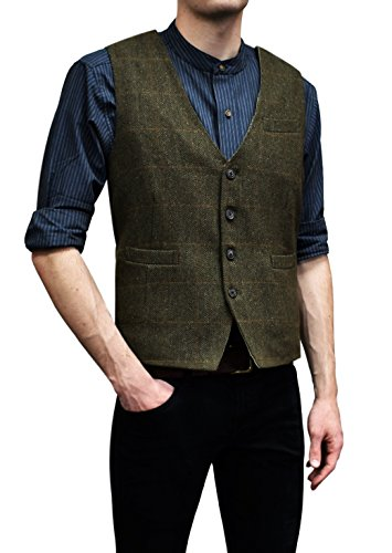 (Lee Valley - Men's Genuine Irish Wool Tweed Vest (Durrow Moss Check, 3XL))