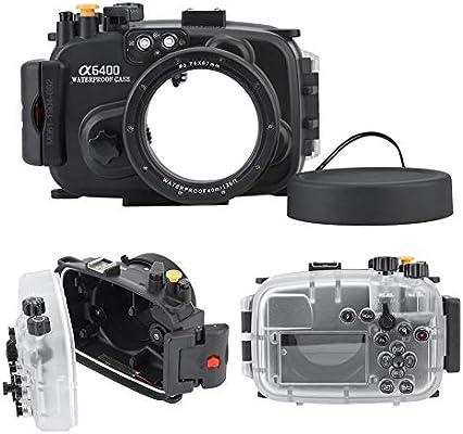 Topiky Estuche para la Carcasa de la cámara y Kit de Cubierta Protectora de Lente, 40m / 130ft Concha de Buceo a Prueba de Agua bajo el Agua para cámara Sony A6400: