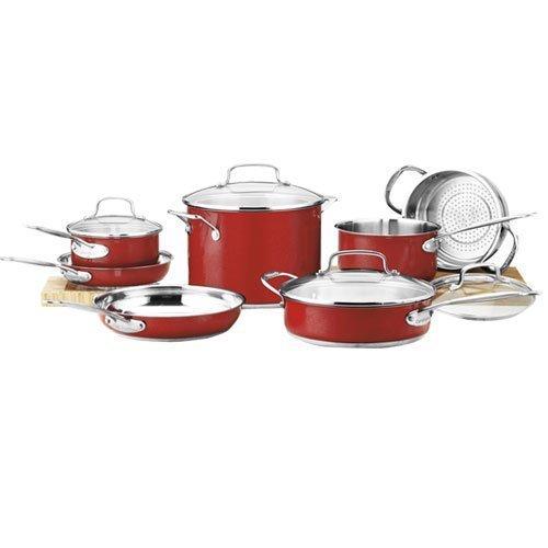 Cuisinart CSS-11MR 11-Piece Classic Cookware Set, Red (Cuisinart Ceramica Set Pc 10 Cookware)