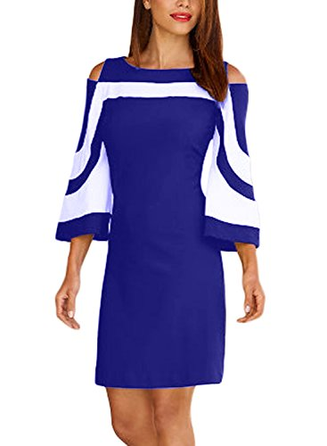Arainlo Shoulder 4 Shift 3 Back Cold Bell Blue with Sleeve Womens Casual Zip Colorblock Dress 0qrnt0