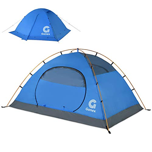 Gonex Winter Camping Tent, 2 Person Backpacking Tent Waterproof Windproof Dome Tent for Snow and Cold for Camping Hiking Backpacking Mountaineering, Blue