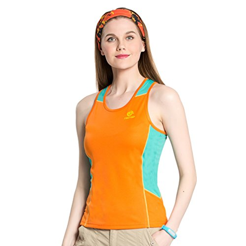 Femmes Sports d'extérieur à séchage rapide pour femme la transpiration Tops pour Course à Pied Fitness Camping Randonnée Mountain ¨ C Orange