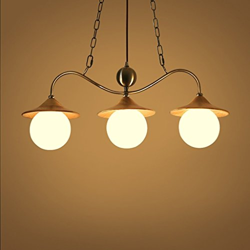 HOMEE Ceiling Chandelier-Solid Wood Chandelier Simple Led3 Head Restaurant Lights Living Room Bedroom Lamps by HOMEE
