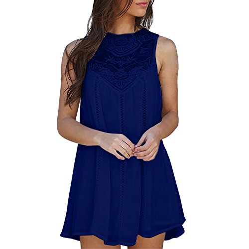 Women Casual Floral Chiffon Shirt Dress Tops Solid Lace Stitching O-Neck Sleeveless Chiffon Mini Dress (Navy, XXL)