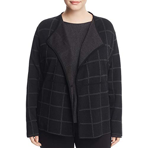Eileen Fisher Womens Plus Linen Windowpane Cardigan Sweater Black 3X