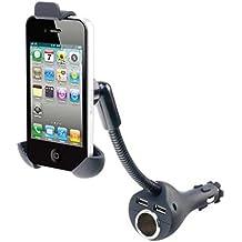 Car Mount Charging Socket Holder Extra 2-Port USB Dock Cradle Gooseneck Rotating for Alltel Alcatel One Touch Ultra 960c - Alltel iPhone 5 - Alltel iPhone 5C - Alltel iPhone 5S