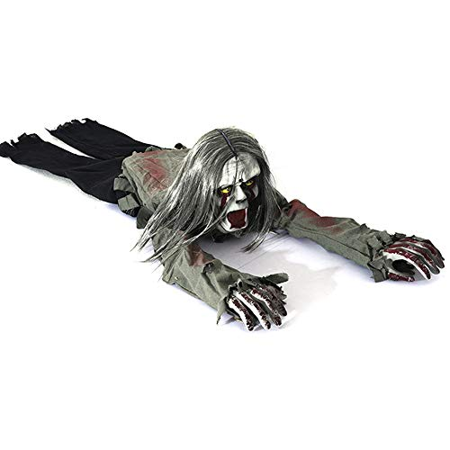 HLLPG Halloween Crawling Zombie Props Battery Operated Motion Sensor Light Control Inductive Skeleton Bloody Ghost Scream for Haunted House Horror Gift Scary Party Decor Toy -