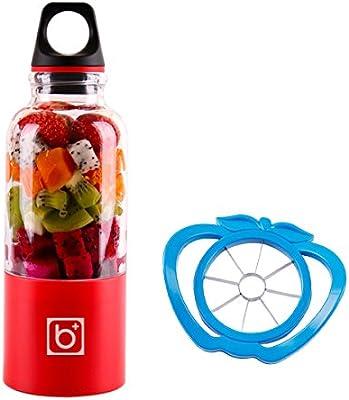 Exprimidor de Fruta USB+Rebanadora de Frutas,500 ml Mini Licuadora para Verduras y Frutas plástico Rojo, by LC Prime